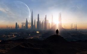 Picture the sun, light, landscape, the city, fiction, people, planet, skyscrapers, megapolis