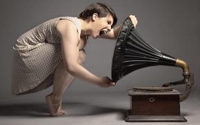 Wallpaper girl, background, gramophone