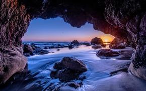 Picture wave, beach, the sun, sunset, stones, the ocean, rocks, shore, the evening, CA, USA, Malibu
