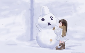 Wallpaper snow, girl, snowman