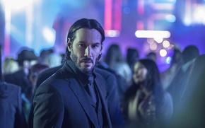 Picture city, cinema, wallpaper, girl, hitman, woman, blue, man, movie, assassin, film, Keanu Reeves, suit, black …