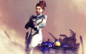 Picture Terran, StarCraft 2, Sarah Kerrigan, human, Powered Combat Suit