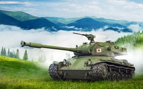 Picture forest, grass, clouds, trees, landscape, mountains, fog, slope, art, tank, Japanese, average, World of Tanks, …