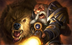 Wallpaper WoW, World of Warcraft, Hunt, Dwarf, Hunter, Pet, Hunter, The gun, Dwarf, Shot, Bear