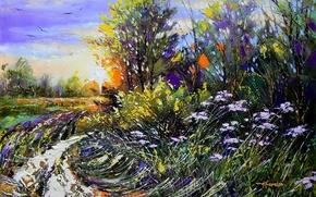 Picture forest, the sky, color, trees, landscape, birds, nature, paint, picture, painting, the bushes, Khodukov