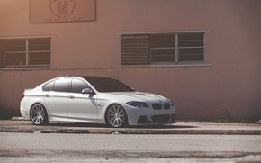 Picture white, the building, Windows, bmw, BMW, white, front view, f10, 550i