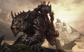 Picture ships, armor, hammer, warrior, top, Dragons of eternity