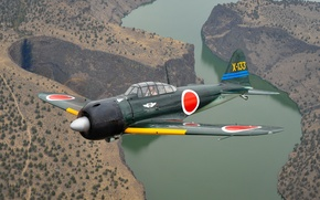 Picture easy, A6M3 Zero, deck, fighter, Japanese