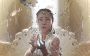 Picture girl, decoration, magic, hands, tears, fantasy, art, The neverending story