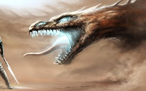 Picture desert, dragon, scales, battle, warrior, the battle, knight, Fang