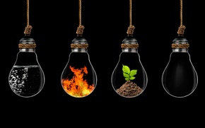 Picture water, fire, earth, elements, the air, light bulb