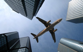 Picture the sky, the city, skyscrapers, Hong Kong, Airbus, Airbus A320, LAN Airlines