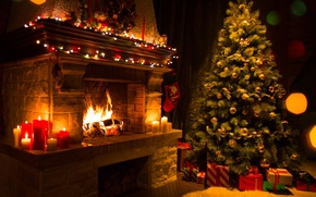 Wallpaper fire, tree, candles, Christmas, gifts, New year, flame, tree, fireplace, garland