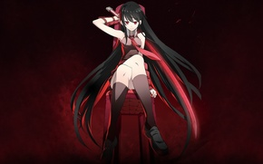 Picture girl, katana, chair, Akame, Akame ga kill, akame GA kill, night raid