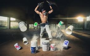 Picture music, paint, guy, respirator, bucket