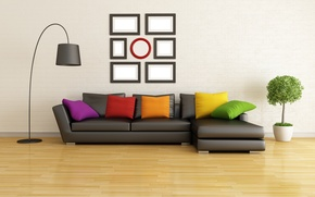 Picture sofa, interior, pillow, interior, couch, pillows, lamb, stylish design, stylish design, lamb, Modern living room, …