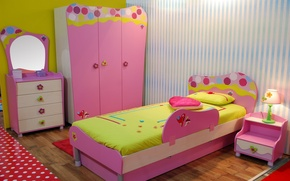 Wallpaper design, room, lamp, bed, interior, mirror, pillow, children's