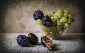 Picture grapes, vase, still life, figs
