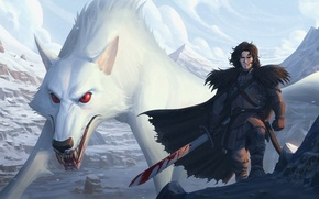 Picture blood, sword, Ghost, art, wolf, Game of Thrones, a song of ice and fire, jon …