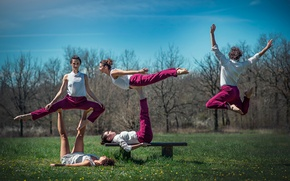 Picture nature, jump, twine, bench, gymnast, position, Company Polypous