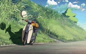 Picture road, the sky, grass, clouds, moped