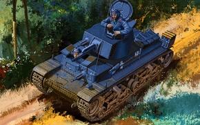 Picture war, art, painting, tank, ww2, Pz.Kpfw. 35 (t), Panzerkampfwagen 35(t)