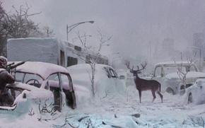 Picture snow, people, deer, highway, rifle, postapokalipsis