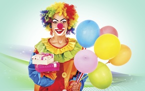 Wallpaper clown, Bright, funny, balls, costume