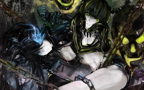 Picture girls, skull, anime, art, horns, chain, black rock shooter, dead master, strength, insane black rock …