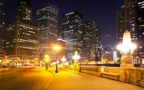 Wallpaper USA, lights, night, street, lights, home, road, the sidewalk, skyscrapers, Chicago