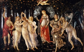 Picture flowers, dance, Spring, Botticelli, Cupid