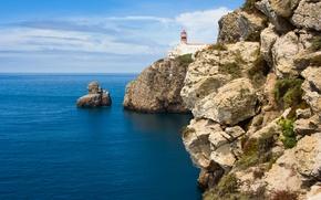 Picture landscape, nature, Lighthouse, Portugal, landscape, nature, Portugal, The Atlantic ocean, Lighthouse, Atlantic Ocean, Plateau and …