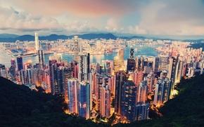 Picture clouds, the city, lights, the evening, Hong Kong, Hong Kong