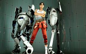 Picture girl, robots, Portal, Atlas, chell, PI-body