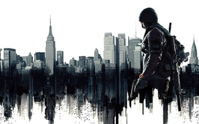 Wallpaper the city, weapons, hat, home, mask, fighter, Ubisoft, Agent, the statue of Liberty, Tom Clancys ...