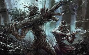 Picture fiction, wolf, art, axe, werewolf, fight, werewolf, treant