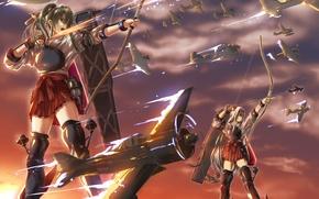Picture the sky, girl, clouds, sunset, weapons, anime, bow, art, aircraft, arrows, kantai collection, shoukaku, zuikaku, …