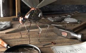 Wallpaper dragonfly, key, table, magnifier, hammer, Denis Tolkishevsky, mechanisms
