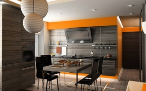 Picture design, photo, table, chairs, interior, kitchen, 3D graphics