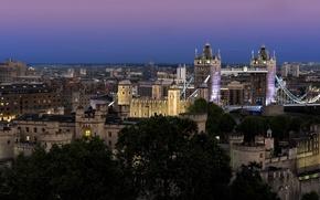 Picture the sky, night, city, the city, lights, England, London, lighting, backlight, UK, blue, Tower bridge, …