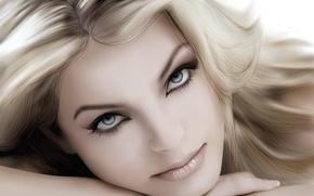 Picture portrait, vector, blonde