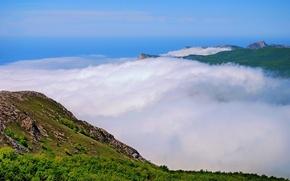 Wallpaper mountains, fog, Clouds