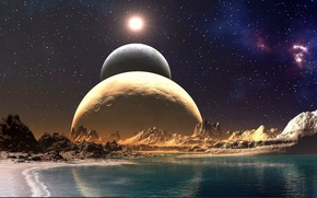 Picture sea, the sky, stars, rocks, planet, parade of the planets