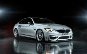 Wallpaper reflection, BMW, white, Coupe, front, F82, ZIMA Moto sports