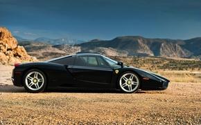 Picture supercar, black, Ferrari Enzo, rechange, Ferrari what Enzo's info