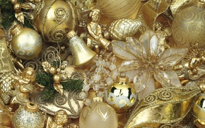 Picture winter, balls, toys, angels, New Year, Christmas, bells, Christmas, bumps, gold, vintage, holidays, New Year, …