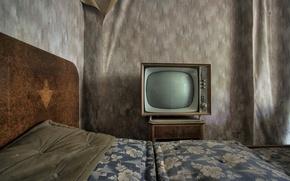 Wallpaper room, bed, TV