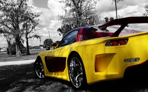 Picture Mazda, Yellow, Tuning, Back, Trees, Rx-7, Veilside