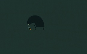 Picture minimalism, style, girl, art, the situation, picture, Wallpaper, mouse, lubopitstvo, monster