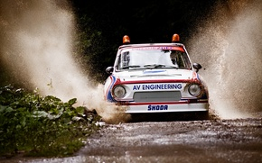 Picture rally, puddle, safety car, rally, squirt